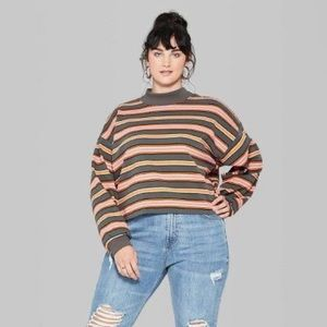 wild fable Tops - Wild Fable Green Stripe Long Sleeve Crop Top XL